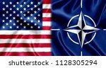 flag of nato and us silk | Shutterstock . vector #1128305294