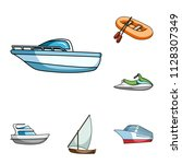 water and sea transport cartoon ... | Shutterstock .eps vector #1128307349
