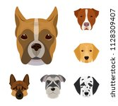 dog breeds cartoon icons in set ... | Shutterstock .eps vector #1128309407