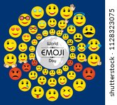 world emoji day greeting card... | Shutterstock .eps vector #1128323075