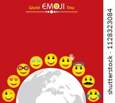 world emoji day greeting card... | Shutterstock .eps vector #1128323084