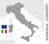 grey vector map of italy with... | Shutterstock .eps vector #1128325037