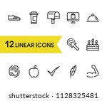 food icon with tick  apple and...