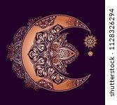 boho chic tattoo design. golden ... | Shutterstock .eps vector #1128326294