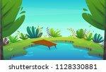 lake summer nature holiday... | Shutterstock .eps vector #1128330881