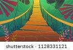 suspension bridge in a jungle...   Shutterstock .eps vector #1128331121