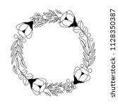 wreath flowers leaves ornament... | Shutterstock .eps vector #1128350387