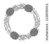 wreath flowers leaves ornament... | Shutterstock .eps vector #1128350411