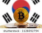 bitcoin btc on stack of...   Shutterstock . vector #1128352754