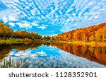 Lake reflecting sky in autumn...