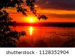 sunset river horizon landscape. ... | Shutterstock . vector #1128352904