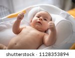 cute baby is ready to bath on... | Shutterstock . vector #1128353894