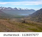beautiful nordic landscape with ... | Shutterstock . vector #1128357077