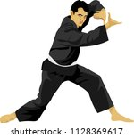 indonesian silat martial art... | Shutterstock .eps vector #1128369617