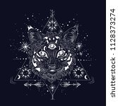 third eye  witch cat  the stars ... | Shutterstock .eps vector #1128373274