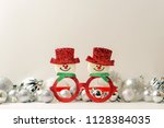 christmas decorations on white... | Shutterstock . vector #1128384035