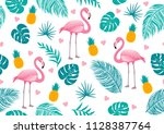 summer seamless pattern of... | Shutterstock .eps vector #1128387764