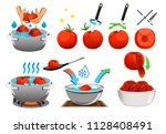 peeling tomatoes with heat for... | Shutterstock .eps vector #1128408491