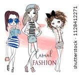 set with cute cartoon girls   Shutterstock .eps vector #1128412271