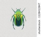 realistic green beetle top view ... | Shutterstock .eps vector #1128412847