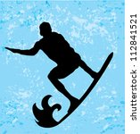 vector surfer silhouette | Shutterstock .eps vector #112841521
