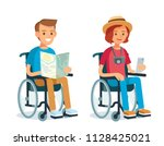 disabled people on whe lchairs... | Shutterstock .eps vector #1128425021