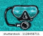 vector illustration of a scuba... | Shutterstock .eps vector #1128458711