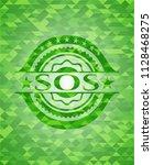 sos realistic green emblem.... | Shutterstock .eps vector #1128468275