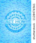 act now sky blue emblem. mosaic ... | Shutterstock .eps vector #1128476561