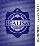 realism badge with denim... | Shutterstock .eps vector #1128476564