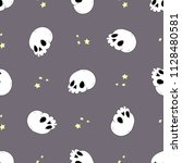 halloween pattern with skull | Shutterstock .eps vector #1128480581
