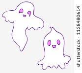 halloween. two cute ghosts. | Shutterstock .eps vector #1128480614