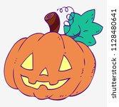 halloween. cute smiling pumpkin. | Shutterstock .eps vector #1128480641