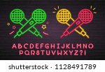 microphone icon neon light... | Shutterstock .eps vector #1128491789