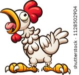 clucking cartoon chicken.... | Shutterstock .eps vector #1128502904