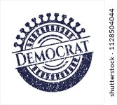 blue democrat with rubber seal... | Shutterstock .eps vector #1128504044