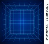 wireframe mesh cube room.... | Shutterstock . vector #1128510077