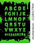 font of green slime. blot... | Shutterstock .eps vector #1128517904