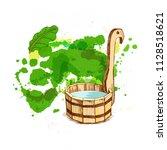 bathing goods. a wooden barrel...   Shutterstock .eps vector #1128518621
