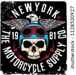 tee skull motorcycle graphic... | Shutterstock . vector #1128530927