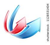 arrows red blue up veer soar... | Shutterstock .eps vector #1128531404
