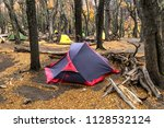 the camp of poinsenot. a tent... | Shutterstock . vector #1128532124