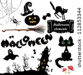 set of  halloween elements  ... | Shutterstock .eps vector #112853344