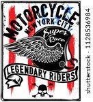vintage motorcycle t shirt... | Shutterstock . vector #1128536984