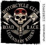motorcycle helmet typography... | Shutterstock . vector #1128539921