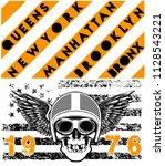 skull motorcycle helmet poster... | Shutterstock . vector #1128543221