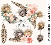 collection of fashion boho... | Shutterstock .eps vector #1128545234