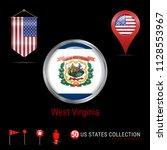 round badge with west virginia...   Shutterstock .eps vector #1128553967