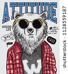 cool bear vector design for t... | Shutterstock .eps vector #1128559187