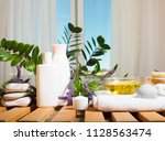 spa set with towels and soap on ... | Shutterstock . vector #1128563474